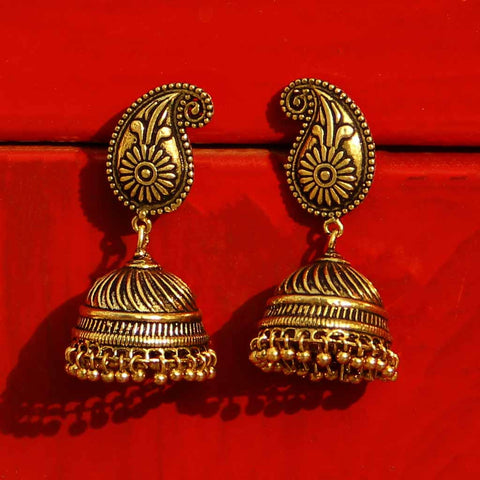 Gold Tone Oxidized Jhumka Earrings