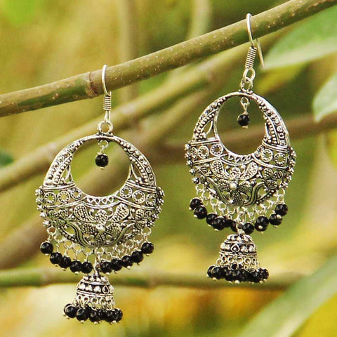 Classic Silver Earrings With Black Beads