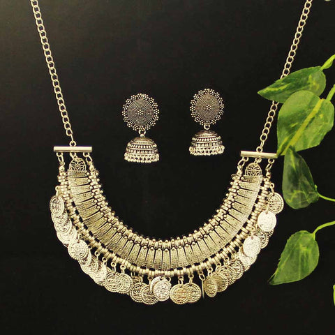 Silver Jhumka Earrings and Necklace Combo