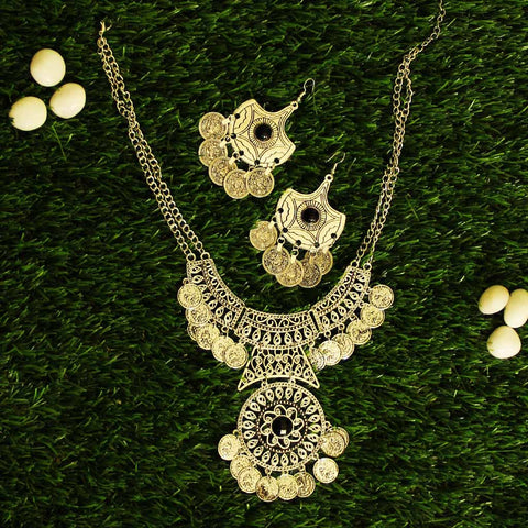 Silver Coin Statement Necklace and Earrings Combo