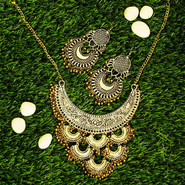 Oxidized Beaded Chandbali Earrings and Necklace Combo
