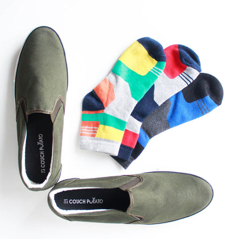 Slip On Sneakers (Olive) and Pack of 3 Socks for Men