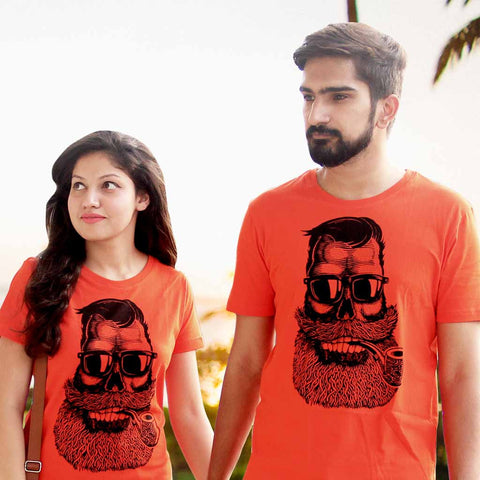 T-Shirt Combo For Couple: Cigar Baba (Orange)