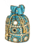 Envie Cloth/Textile/Fabric Embellished Turquoise Potli Bag