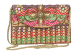 Envie Cloth/Textile/Fabric Embellished Magnetic Snap Sling Bag