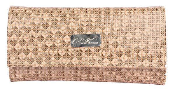 Envie Faux Leather Beige Coloured Magnetic Snap Clutch