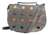Envie Faux Leather Grey Embellished Magnetic Snap Sling Bag