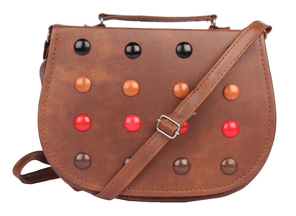Envie Faux Leather Coffee Brown Embellished Magnetic Snap Crossbody Bag