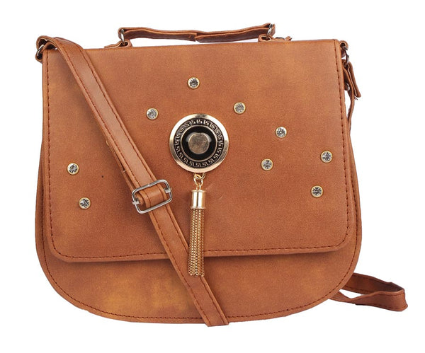 Envie Faux Leather Coffee Brown Embellished Magnetic Snap Sling Bag - 1