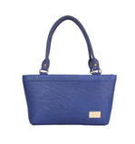 Aliado Faux Leather Solid Blue Zipper   Closure Formal Tote Bag