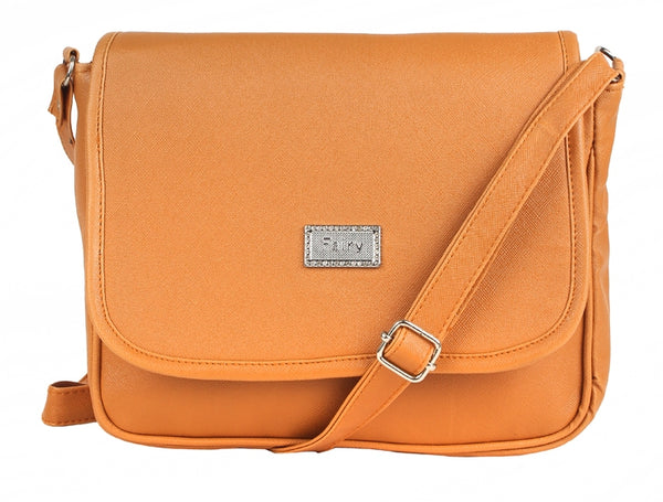 Aliado Faux Leather Solid Mustard Magnetic Snap Crossbody Bag