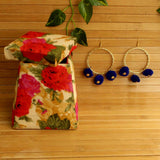 Pom Pom Blue Earrings & Floral Handmade Box