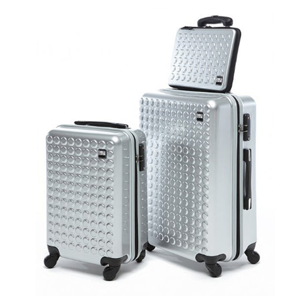 Grey Dotted Pattern Luggage Bags