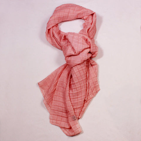 Quilted Checks Solid Peach Scarf