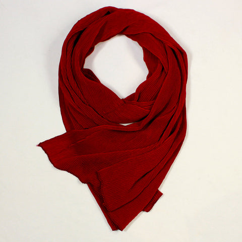 Solid Maroon Scarf with Pleats