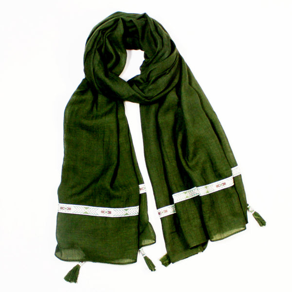 Solid Olive Scarf with Tassels