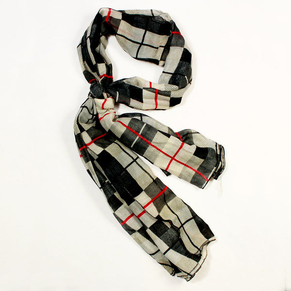 Grey Check Print Scarf