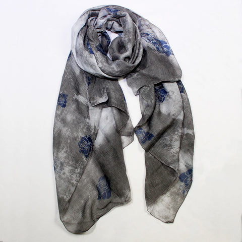 Acid Wash Floral Print Grey Scarf