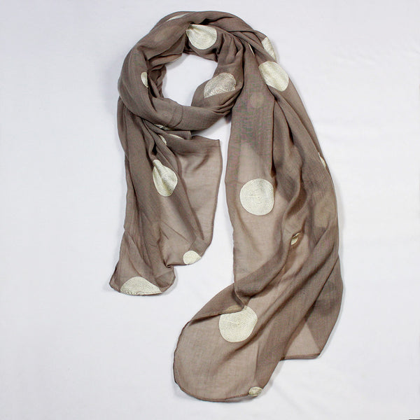 Embroidered Polka Dots Scarf