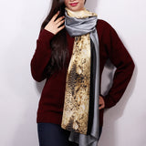 Grey Printed Silk Scarf