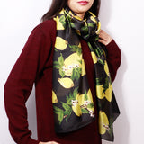 Lemon Print Black & Yellow Scarf