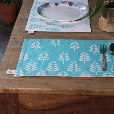 Summer Days Block Print Duck Cotton Table Mats (Set of 6)