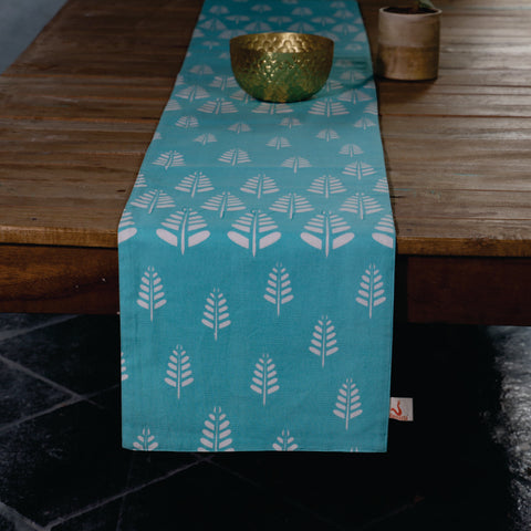 Fanusta Block Print Duck Cotton Reversable Table Runner
