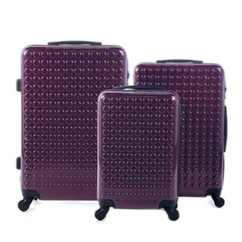 Pack of 3 Purple Hard Case Trolley Bags
