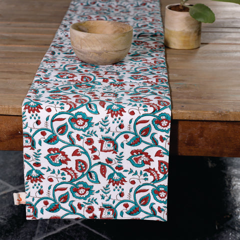 Fanusta Wardaa Green Block Print Duck Cotton Reversable Table Runner