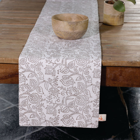 Fanusta Wardaa Rust Block Print Duck Cotton Reversable Table Runner