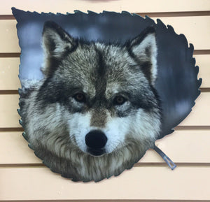 Wolf On Aspen Leaf II