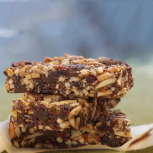 Carob and nutty fruit bars