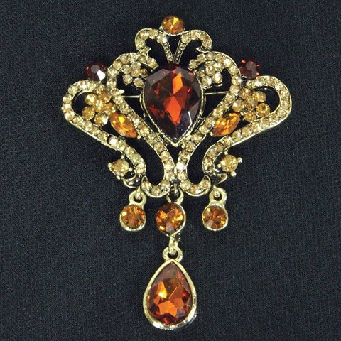Amber Jeweled Brooch