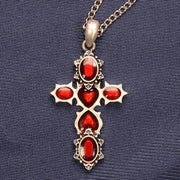 Cross w/ Red Hearts Necklace