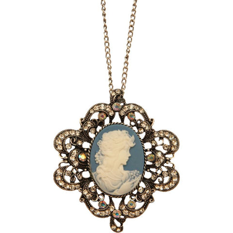 Victorian Turquoise Cameo Necklace