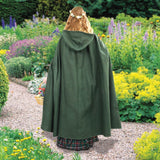 Medieval Cotton Cross Over Hooded Cloak Green