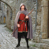 Medieval Cotton Cross Over Hooded Cloak Grey