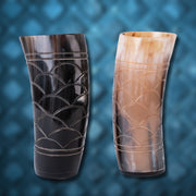 Carved Horn Cup Set