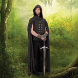 Mercenary Hooded Black Cloak