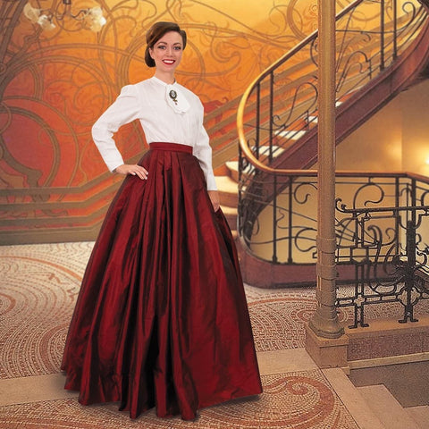 Victorian Red Taffeta Pleated Skirt w/ Attached Underskirt