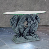 Ancient Double Dragon Table with Glass Top