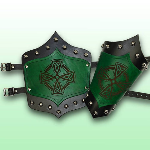 Celtic King's Leather Arm Vambraces - Green