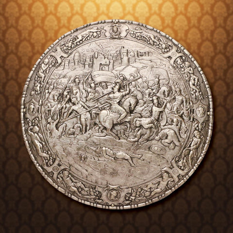 Philip of Spain Embossed Spanish Shield: Steel finish