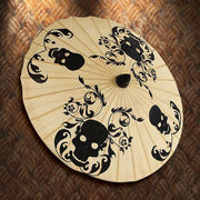 Black Skulls and Scrolls Paper Parasol