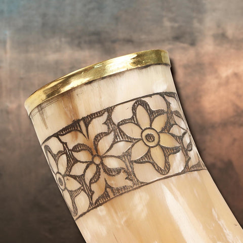 Drinking Horn of Freya - Hand-Carved Floral Pattern