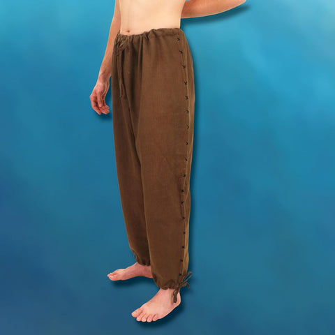 Hand-Stitched Menâ's Drawstring Pants - Brown