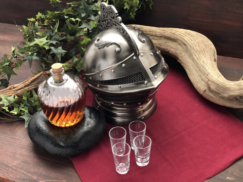 Medieval Knight Decanter Set Helmet Drink Caddy
