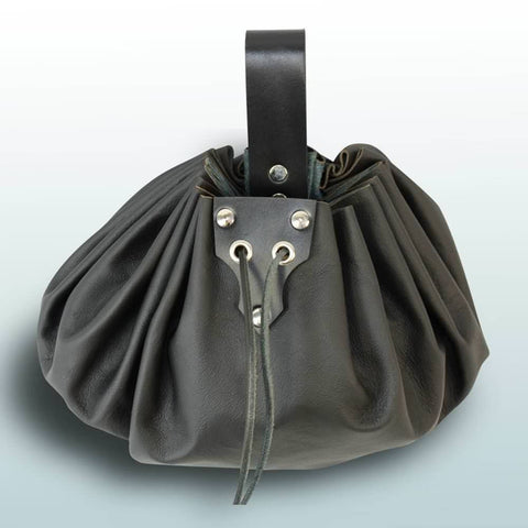 Round Large Leather Pouch - Black