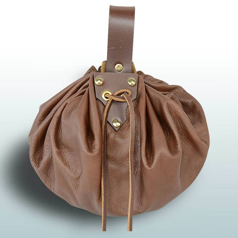 Round Large Leather Pouch - Brown