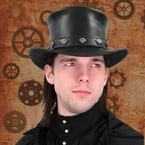 Leather Top Hat - Costumes and Collectibles